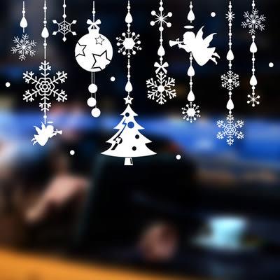 ►壁貼 天使鈴鐺 城鎮聖誕雪花牆貼 PVC 透明膜牆貼 聖誕節 熱銷【A3306】