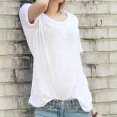 2018夏季純白色圓領短袖t恤女竹節棉麻韓版學生簡約寬鬆半袖上衣