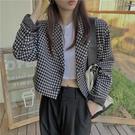 夾克外套 千鳥格西裝外套女秋季韓版寬鬆休閒高級感小西服炸街短款夾克上衣 晶彩生活