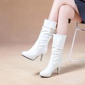 新款騎士靴女短靴秋冬季中筒靴細跟高筒靴高跟女靴大尺碼馬丁靴 XN7861【123休閒館】