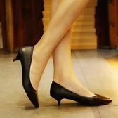 黑色高跟鞋職業女鞋2018新款通勤簡約百搭3cm低跟單鞋細跟工作鞋 聖誕禮物 交換 尾牙