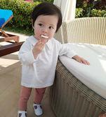 嬰童初春新品純色襯衫領上衣0-3歲嬰兒小翻領套頭打底衫夢想巴士