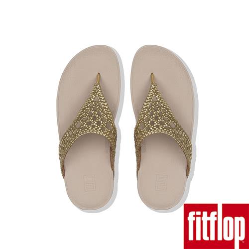 【FitFlop】LOTTIE METALLIC WICKER WEAVE TOE-THONGS(黃金色限時回饋6折