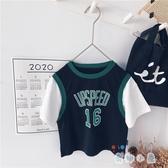 男童假兩件T恤籃球服兒童運動短袖韓版休閒上衣【奇趣小屋】