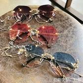 墨鏡女潮大臉顯瘦錬條眼鏡圓臉太陽鏡防紫外線年新款 居家物语