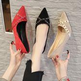 2019春秋季新款百搭網紅法式少女紅色高跟鞋細跟尖頭鉚釘黑色單鞋