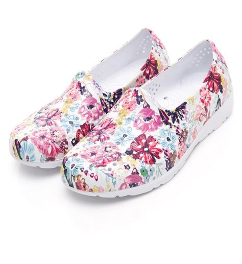 PONY 中性款粉白色花朵洞洞水鞋TROPIC-NO.92U1SA07PK