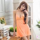 粉橘深V柔緞面高腰綁脖睡衣 性感內衣 居...