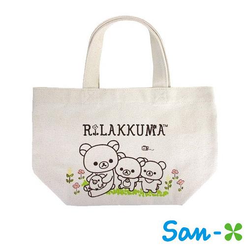 花園款【日本進口正版】San-X 拉拉熊 帆布手提袋 提袋 便當袋 懶懶熊 Rilakkuma - 049110