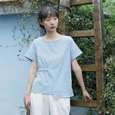 2020年夏季新款文藝少女棉麻提花上衣女寬鬆圓領短袖系帶T恤