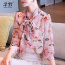(促銷全場九折)秋季新款雪紡衫寬松遮肚子碎花上衣女長袖蝴蝶結襯衫洋氣小衫