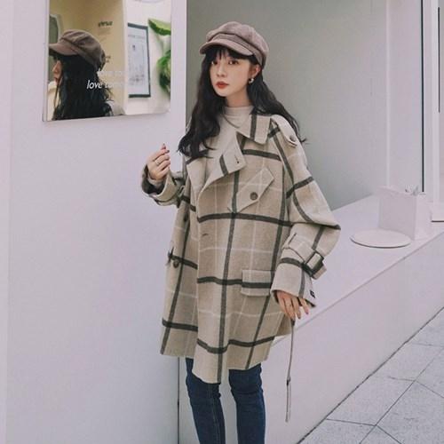 毛呢外套-氣質格紋寬鬆繫帶長版女大衣73yx24[時尚巴黎]