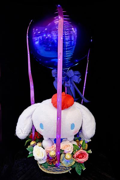 30cm畫家帽大耳狗幸福熱氣球,金莎花束/情人節禮物/婚禮佈置/派對慶生,節慶王【Y030071】