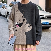 毛衣 秋冬季日系男寬鬆韓版潮流個性小熊羊毛針織衫加絨加厚款線衣 - 小衣里大購物