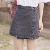 韓版牛仔短裙女夏高腰灰色半身a字裙