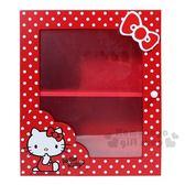 〔小禮堂〕Hello Kitty 拉門雙層收納盒《紅.點點.側坐.蝴蝶結》置物櫃.木製櫃 4713052-38632