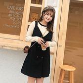 中大尺碼 T恤上衣+雙排釦背心裙洋裝(附腰帶) 兩件式套裝 - 適XL~4L《 65203HH 》CC-GIRL