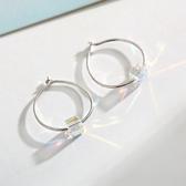 【新飾界】耳環:925純銀極光方糖耳圈女