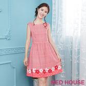 Red House 蕾赫斯-格紋花朵無袖洋裝(共2色) 滿2000元現抵250元