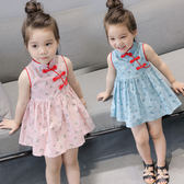 無袖洋裝 女童中國風盤扣碎花洋裝 S77026 AIB小舖