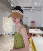 紫外線遮陽帽女夏天防曬帽子百搭時尚網紅款空頂帽草帽無頂太陽帽 町目家
