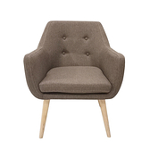 【JUSTBUY】納卡北歐鈕扣個性單人沙發椅咖啡色
