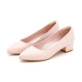 MICHELLE PARK 時尚女伶 羊皮尖頭金屬鑲嵌粗低跟鞋-粉膚色