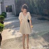 洋裝 2021夏季新款法式白色初戀甜美連身裙女小個子泡泡袖收腰仙女短裙 中秋節好禮