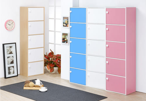《Hopma》粉彩五門收納櫃/置物櫃-四色可選
