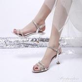2020新款女士涼鞋女夏仙女風一字帶露趾細跟貓跟鞋性感百搭高跟鞋 黛尼時尚精品