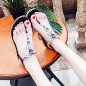 平底夾趾鬆緊帶涼鞋女鞋2018夏季新品水鉆防滑海邊沙灘鞋 鉅惠兩天【限時八五折】