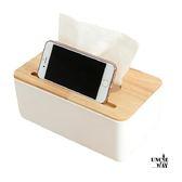 簡約橡木蓋面紙盒桌上收納盒【H00014 】威叔叔 城堡可當手機架單格 居家收納