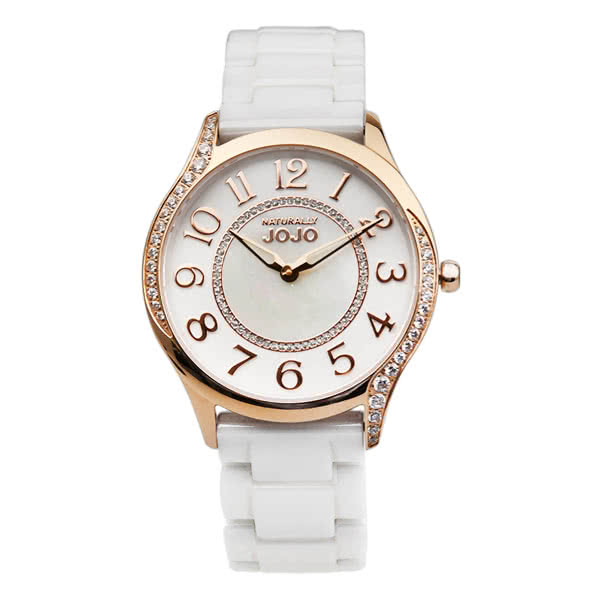 NATURALLY JOJO 玫瑰金氣質 陶瓷 晶鑽手錶 (JO96940-81R) /36mm