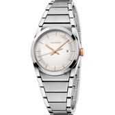 Calvin Klein CK Step 城市美學腕錶-銀x玫瑰金時標/30mm K6K33B46