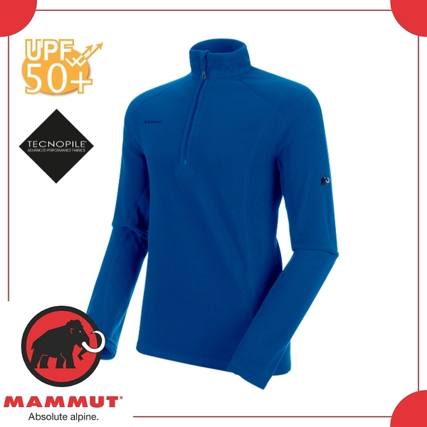 【MAMMUT Yadkin ML HZ Pull 男刷毛半襟《群青藍》】1014-24941-5967/半開襟/上衣/保暖