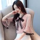 荷葉邊上衣 雪紡襯衫女2021夏季新款蕾絲小衫帶領氣質時尚很仙的短袖上衣洋氣 韓國時尚週