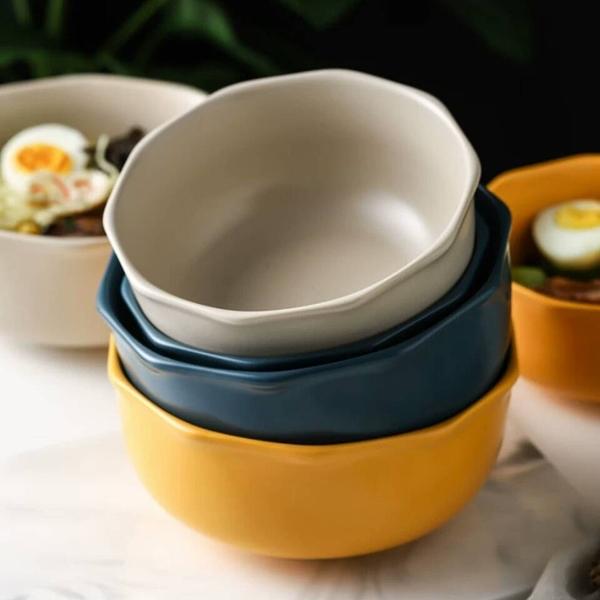 原點居家創意 簡棱系列 5.5吋 十角邊飯碗 湯碗 陶瓷碗 麵碗 三色任選