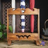 傘架 泰國木雕工藝品創意家居門店辦公室木質傘架中式收納架立式雨傘架T