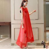 無袖洋裝大尺碼中國風仙女復古長裙一朵牡丹刺繡花無袖連身裙子【尾牙交換禮物】