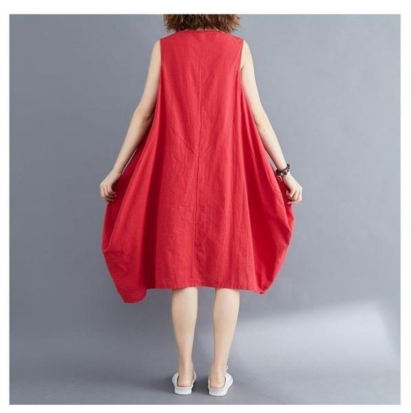 漂亮小媽咪 無袖洋裝 【D0629】 文藝 純色 無袖 亞麻 長裙 孕婦裝 無袖洋裝 寬鬆 棉麻 花苞裙