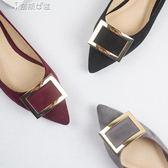 平底鞋尖頭方扣平底鞋黑色紅色秋鞋奈斯女裝