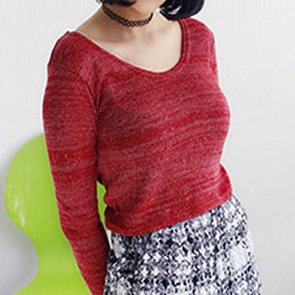現貨-針織衫-混色細針織短版圓領長袖上衣Kiwi Shop奇異果【SIH03994】
