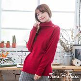 【Tiara Tiara】激安 摺領素色縮口長袖針織衫(紅)