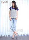 Victoria  真二件式細綁帶背心短袖T-女-藍/白