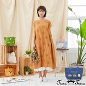 【Tiara Tiara】百貨同步新品aw  圓球刺繡素色連袖洋裝(綠/黑/黃)