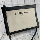 BRAND楓月 BALENCIAGA巴黎世家 339937 經典 白帆布 黑色LOGO 方形 斜背包 肩背包 手拿包