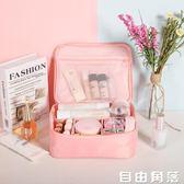 ins網紅化妝包小號便攜韓國簡約大容量化妝袋少女心洗漱品收納盒 自由角落