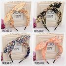 【NiNi Me】韓系髮飾 可愛甜美兔耳朵雪紡碎花細款髮箍 髮箍H9383