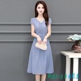 小個子純色雪紡連身裙洋裝女夏裝2020新款胖mm大碼短袖中長款裙子洋氣 OO12065『科炫3C』