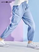 女童防蚊褲夏季寬松運動褲子兒童長褲中大童九分牛仔褲薄款休閑褲